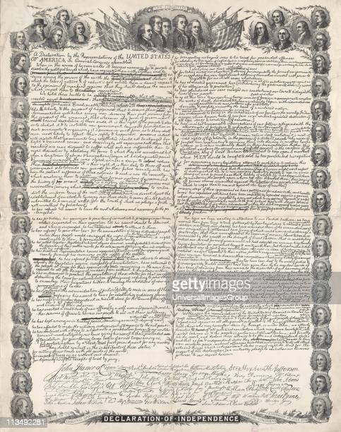 Facsimile of the original draft of the Declaration of Independence with portraits of all the signatories surrounding it Engraving c1896 America USA...