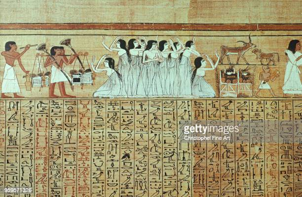 Facsimile of the papyrus of Ani mourners from Thebes Egyptian Art College de France in Paris Egypt