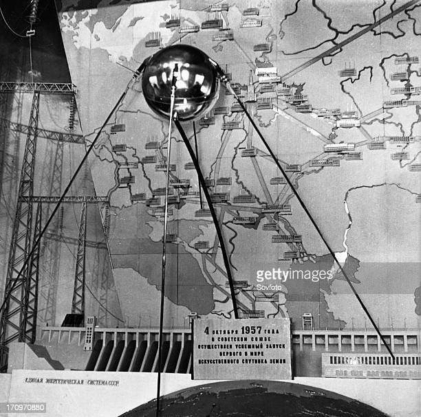A facsimile of the sputnik 1 satellite on exhibit in moscow november 1959