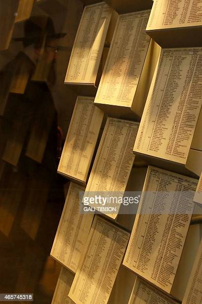 Facsimiles of Oskar Schindler's lists are displayed for the public at the Yad Vashem Holocaust memorial museum in Jerusalem where the original...