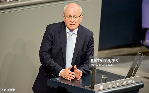 CSU faction leader Volker Kauder attend the debate on financial aid for Greece in German Bundestag on August 19 2015 in Berlin Germany