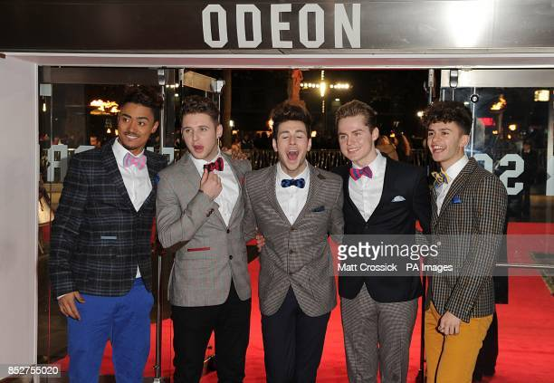 X factor band Kingsland Road arriving for the World Premiere of The Hunger Games Catching Fire at the Odeon Leicester Square London