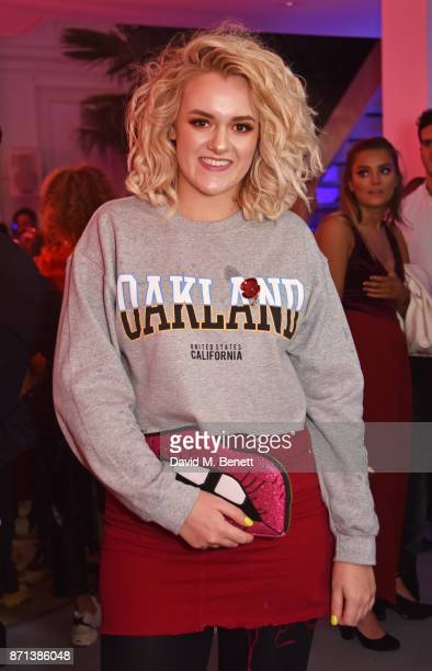 Factor contestant Grace Davies attends a party hosted by Gigi Hadid to launch her new limitededition Maybelline collection on November 7 2017 in...