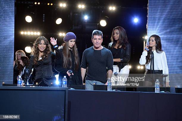 Factor contestants Fifth Harmony and producer Simon Cowell attend Fox's 'The X Factor' season finale news conference at CBS Television City on...