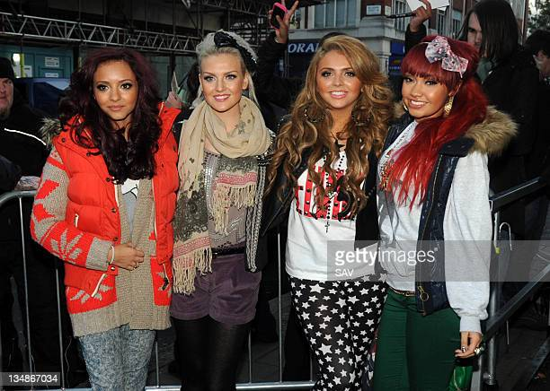 X Factor contestants LeighAnn Pinnock Perrie Edwards Jesy Nelson and Jade Thirlwall of Little Mix seen at Radio 1 on December 5 2011 in London England