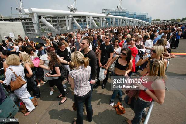 Factor contestants queue to participate during the first day of auditions for series 4 X Factor at Arsenal Emirates Stadium on June 9 2007 in London...