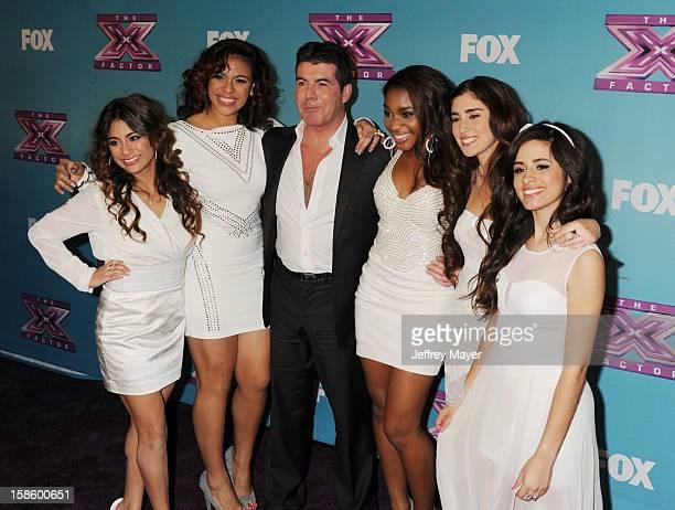 Factor finalist Fifth Harmony Lauren Juaregui Normani Kordei Simon Cowell Ally Booke Dinah Jane Hansen and Camila Cabello arrive at Fox's 'The X...