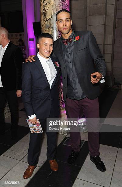 Factor finalist Jahmene Douglas and Ashley Banjo pose at the Cosmopolitan Ultimate Woman of the Year Awards after party at Victoria Albert Museum on...