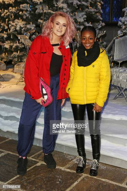 Factor finalists Grace Davies and RaiElle Williams attend the VIP launch of 'Hogwarts In The Snow' at Warner Bros Studio Tour London The Making Of...