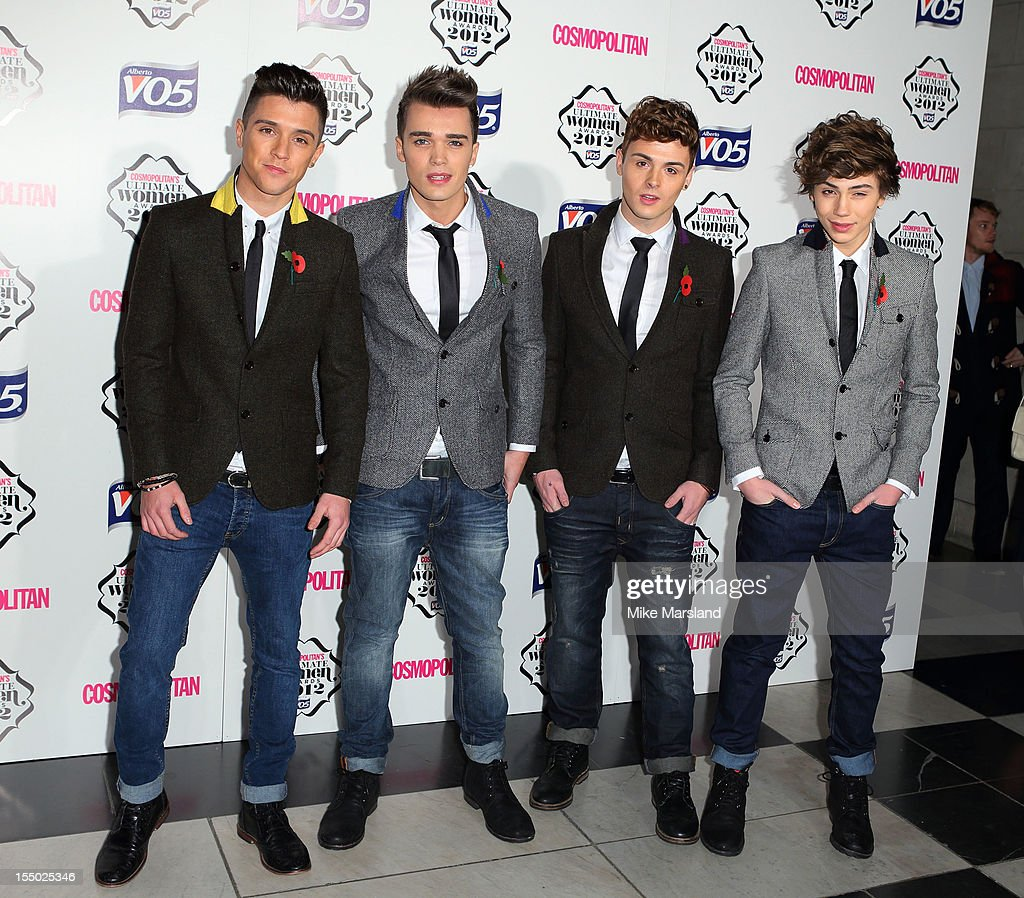 X Factor finalists Jamie Hamblett, Josh Cuthbert, Jaymi Hensley and George Shelley of Union J arrive the Cosmopolitan Ultimate Woman of the Year awards at Victoria & Albert Museum on October 30, 2012 in London, England.