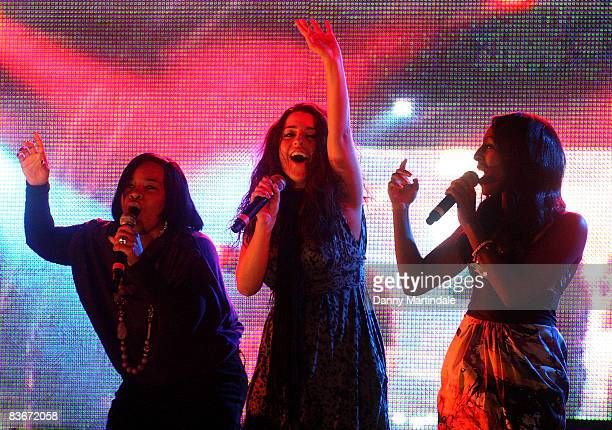 X Factor finalists Rachel Hylton Ruth Lorenzo and Alexandra Burke perform at the Oxford Street Christmas Lights switchon on November 12 2008 in...
