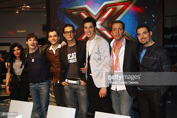 X Factor Italy TV show finalists Guisy Emanuele Tony Maiello and Aram Quartet members attend a press conference at RAI Studios on May 27 2008 in...