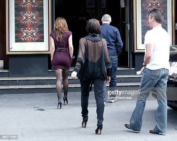 Factor judges Cheryl Cole Dannii Minogue Louis Walsh and Simon Cowell attend the X Factor Boot Camp at the Hammersmith Apollo on July 27 2009 in...