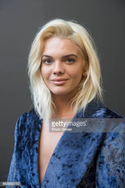 Factor winner and singer Louisa Johnson wears a Teatum Jones jacket on day 1 of London Womens Fashion Week Spring/Summer 2018 on September 15 2017 in...