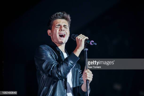 'Factor X' contestant Samuel performs on stage at Palau Sant Jordi before Laura Pausini concert on October 17 2018 in Barcelona Spain