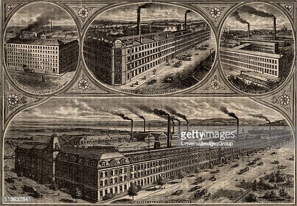 Factories of the Singer Sewing Machine Company Top left Cabinet works at Govan Glasgow Scotland Centre top Factory at Glasgow Scotland Top right...