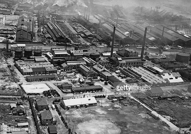 Factories on a canal in Osaka Japan 1956