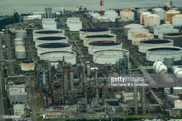 Factory area in Kawasaki city in Kanagawa prefecture in Japan daytime aerial view from airplane