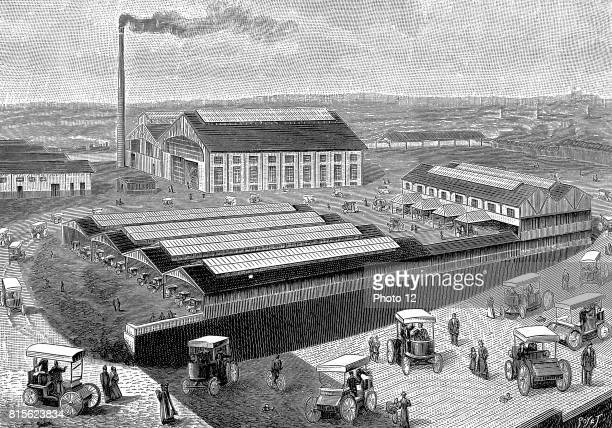 Factory at Aubervilliers France for making recharging and servicing electric cabs used in Paris From 'La Nature' Paris 1899