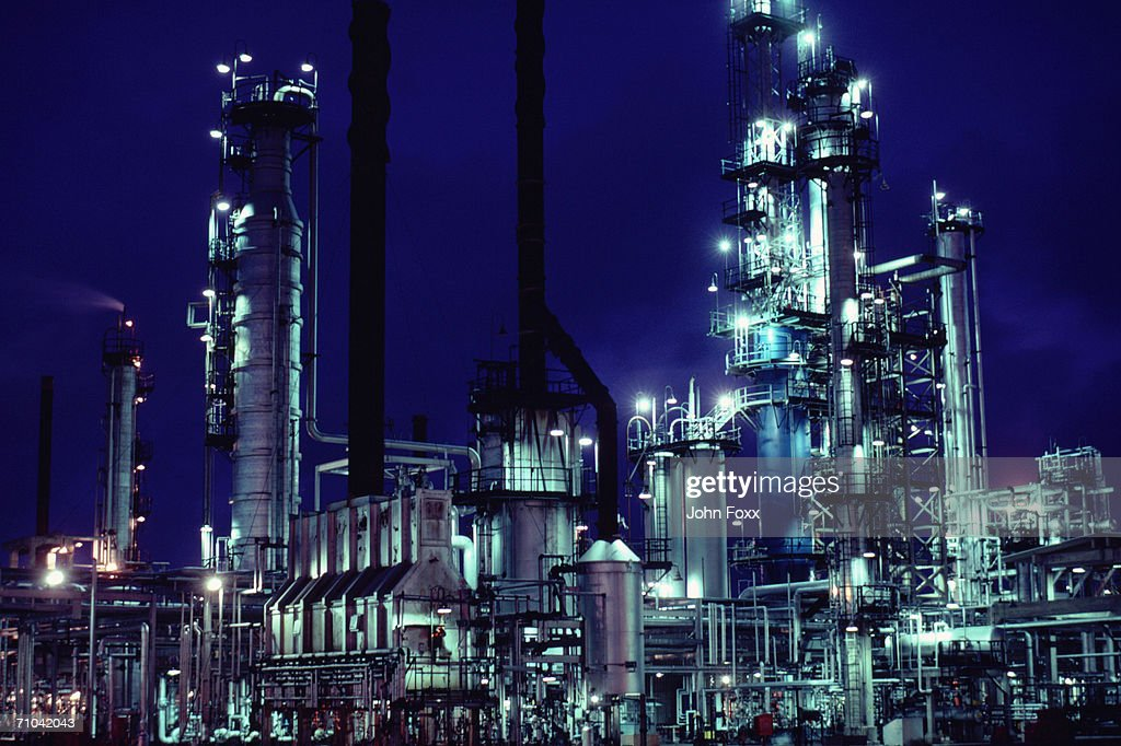 factory at night : Stock Photo