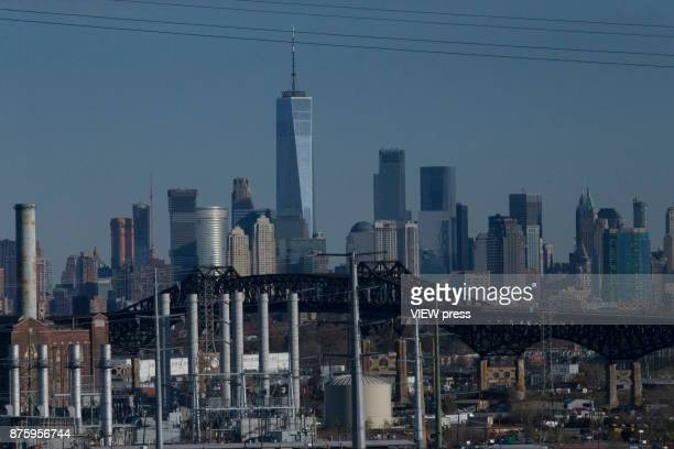 Factory is seen as lower Manhattan and One World Trade Center are visible in the background on November 17 2017 from New Jersey The United States is...