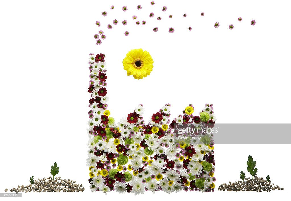 A factory made out of flowers : Foto stock