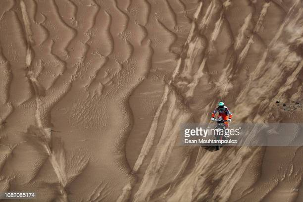 Factory Racing Team No 34 Motorbike ridden by Mario Patrao of Portugal competes in the desert on the sand during Stage Six of the 2019 Dakar Rally...