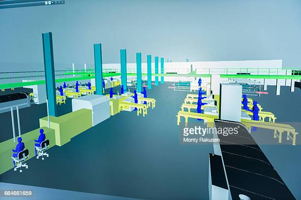 Factory screen graphic in 3D virtual reality suite