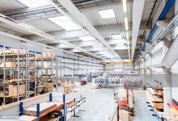 Factory shop floor with warehouse