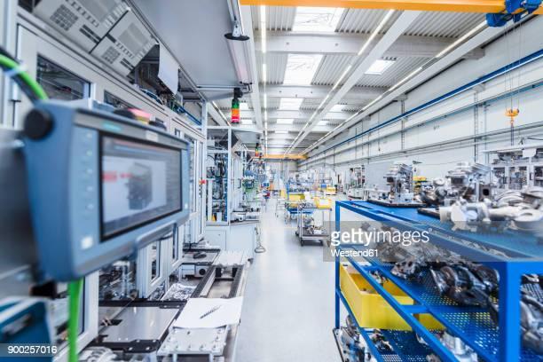Factory shop floor with workpieces