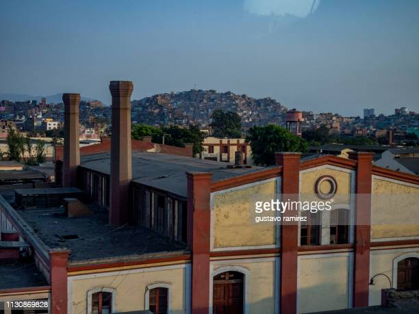 factory with fireplace in lima peru - icon set stock photos and pictures