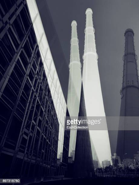 Factory with large chimney in Shanghai, China