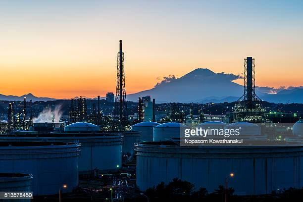 A factory with Mt. Fuji