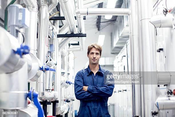 Factory worker in industrial plant, portrait