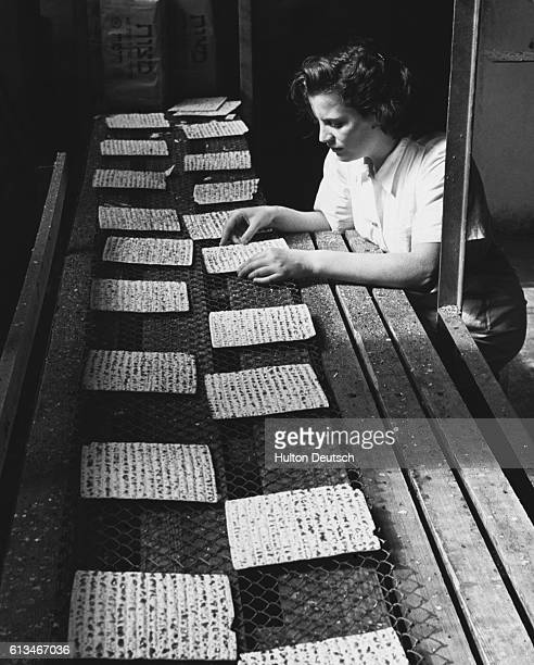 A factory worker inspects matzos at the Mazzo Su Company Limited which is the largest of the nine factories in Israel
