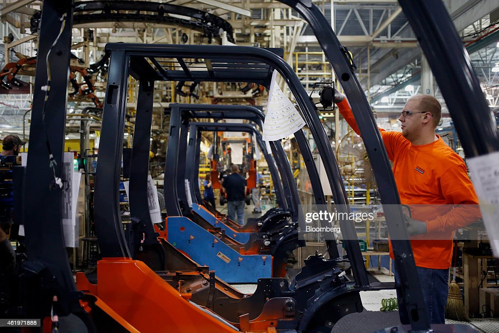 Forklift Production At The Toyota Industrial Equipment Manufacturing Inc. Facility Ahead Of Durable Goods Figures : News Photo