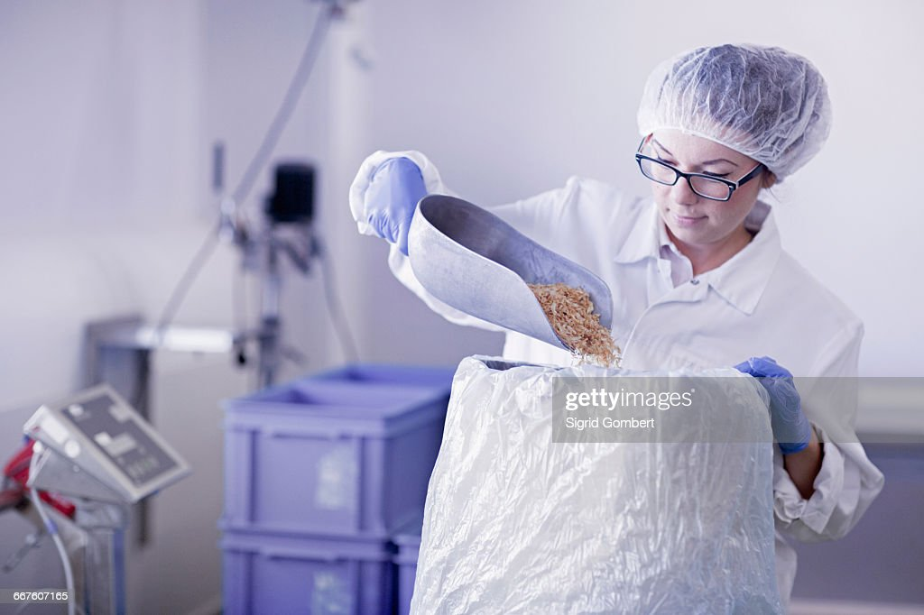 Factory worker scooping food into sack : Stock-Foto