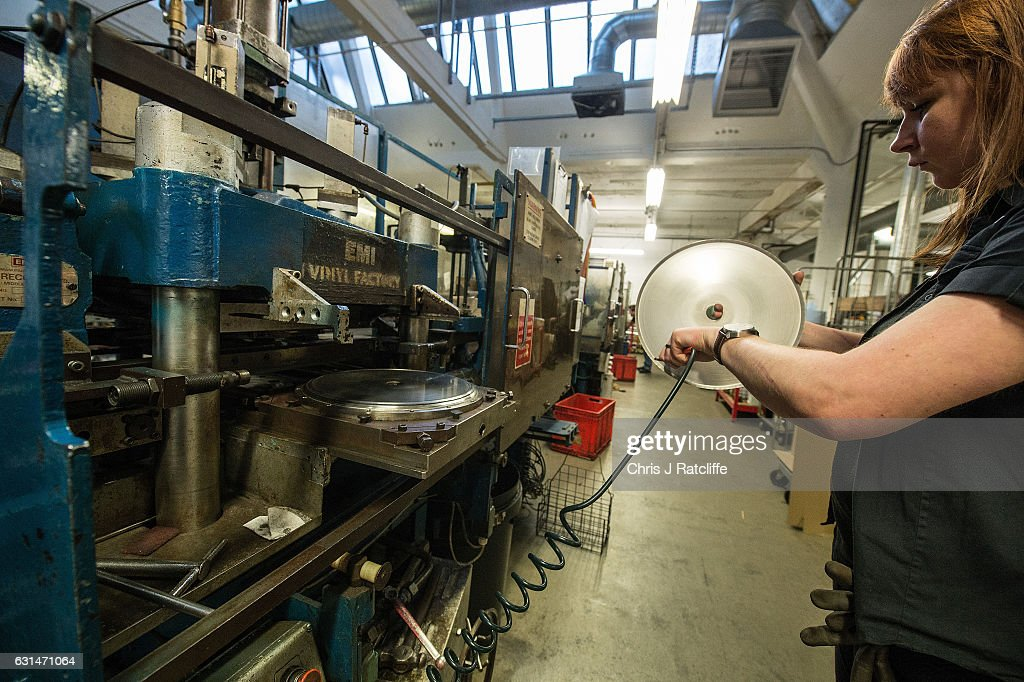 A factory worker steam cleans a master copy of a vinyl record before being placed into a pressing machine for copies to be made at The Vinyl Factory on January 11, 2017 in Hayes, England. The Vinyl Factory is the largest vinyl pressing plant in the United Kingdom and produces up to 1.4 million records a year. The factory was founded in 2001 and has seen a 20% increase in sales and production year on year with clients including Warner Music, Universal Music, Bjork's label and their own label. Sales of vinyl records reached a 25 year high in 2016 when more than 3.2 million LPs were sold, a rise of 53% on the previous year.