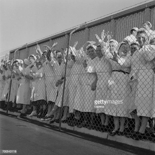 Factory workers during Prince Philip's visit to the Bird's Eye food processing plant in Lowestoft UK 18th November 1960
