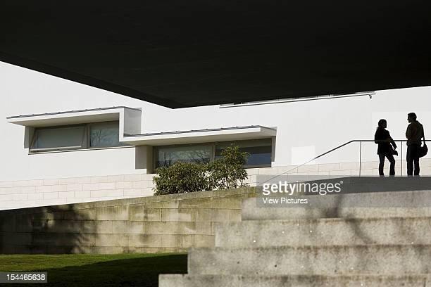 Faculty Of Media Science University Of Santiago De Compostela Alvaro Siza Spain 2001 Canopied Concrete Staircase With Detail Of Building Facade...