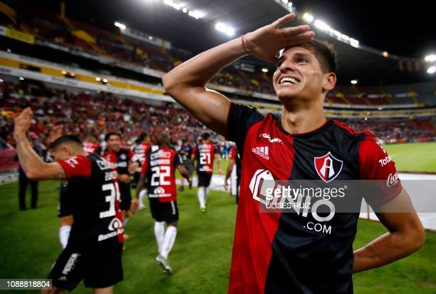 TOPSHOT Facundo Barcelo of Atlas celebrates their 31 win against Lobos BUAP during the Mexican Clausura 2019 tournament football match at Jalisco...