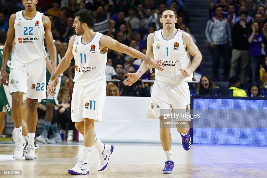 Facundo Campazzo, #11 and Fabien Causeur, #1 of Real Madrid in action during the 2017/2018 Turkish Airlines EuroLeague Regular Season Round 25 game between Real Madrid and Panathinaikos Superfoods Athens at Wizink Arena on March 8, 2018 in Madrid, Spain.