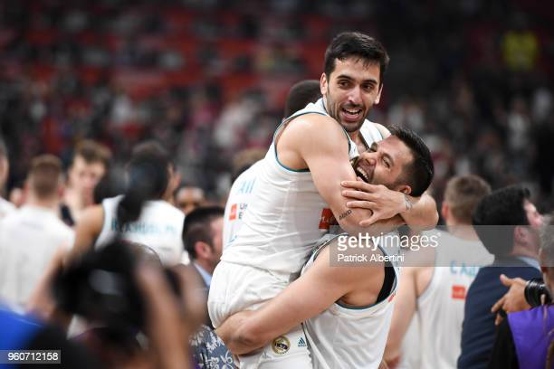 Facundo Campazzo, #11 of Real Madrid and Felipe Reyes, #9 of Real Madrid at the end of the 2018 Turkish Airlines EuroLeague F4 Championship Game...