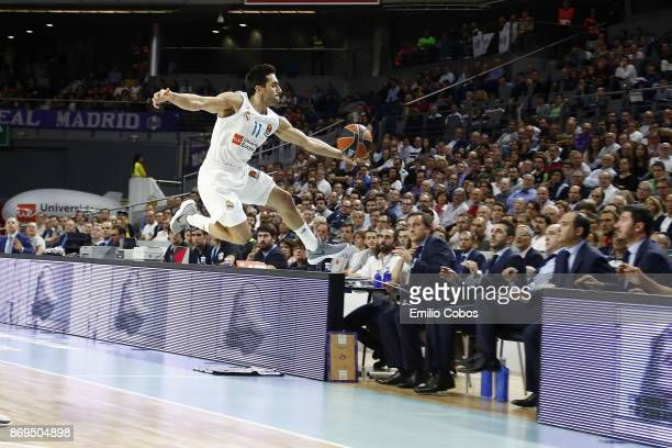 Facundo Campazzo #11 of Real Madrid in action during the 2017/2018 Turkish Airlines EuroLeague Regular Season Round 5 game between Real Madrid and...
