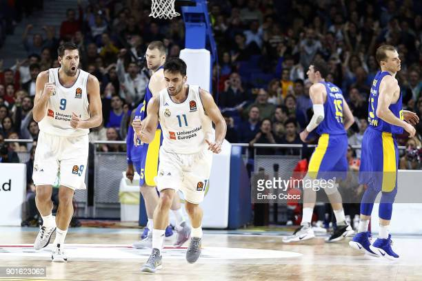 Facundo Campazzo #11 of Real Madrid in action during the 2017/2018 Turkish Airlines EuroLeague Regular Season Round 16 game between Real Madrid and...