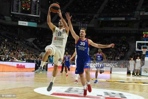 Facundo Campazzo #11 of Real Madrid in action during the 2017/2018 Turkish Airlines EuroLeague Regular Season Round 20 game between Real Madrid and...