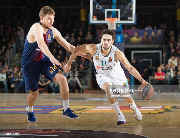 Facundo Campazzo #11 of Real Madrid in action during the 2017/2018 Turkish Airlines EuroLeague Regular Season game between FC Barcelona Lassa and...