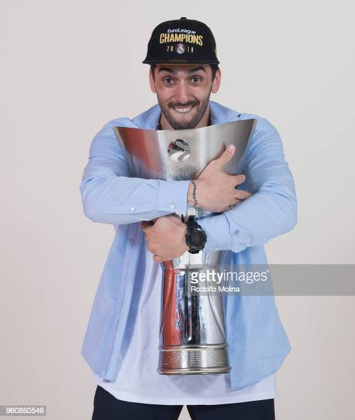 Facundo Campazzo #11 of Real Madrid poses 2018 Turkish Airlines EuroLeague F4 Champion Photo Session with Trophy at Stark Arena on May 20 2018 in...