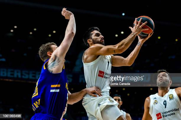 Facundo Campazzo #7 guard of Real Madrid during the 2018/2019 Turkish Airlines Euroleague Regular Season Round 7 game between Real Madrid and Khimki...