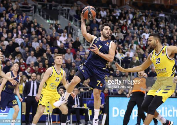 Facundo Campazzo, #7 of Real Madrid competes with Johannes Thiemann, #32 of Alba Berlin during the 2019/2020 Turkish Airlines EuroLeague Regular...